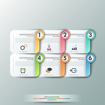 Modern infographics options template with paper sheets