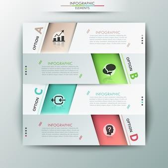 Современный инфографический шаблон вариантов с бумажными листами