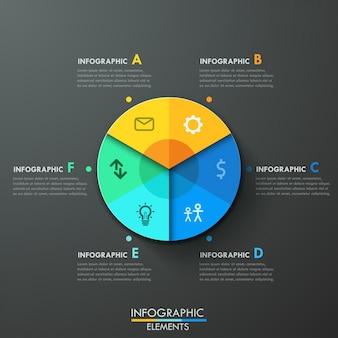 Modern infographics paper pie chart template