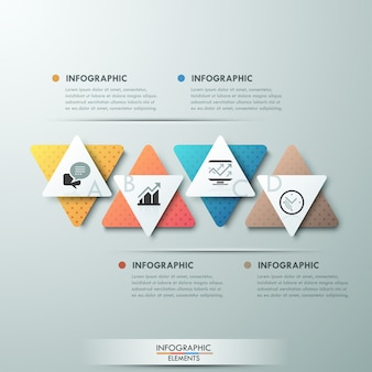 Modern infographics process template with 4 paper triangles