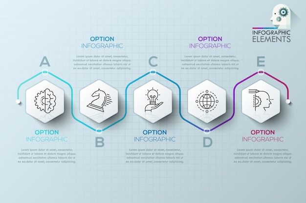 Modern infographics process template with paper polygons for 5 steps