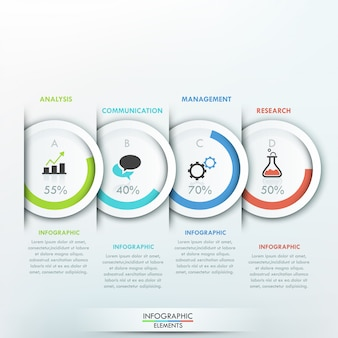 Modern infographics template with 4 paper circles