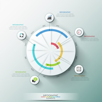 Modern infographics template with paper circle