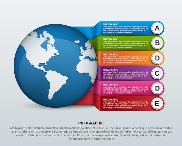 Modern infographics template with six steps for business presentations.