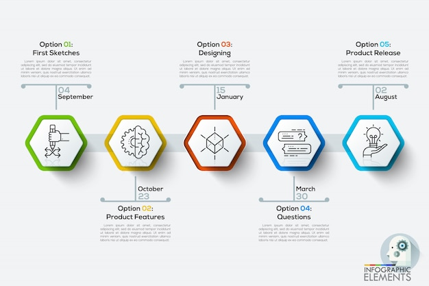 Modern infographics timeline template with 5 white polygons.