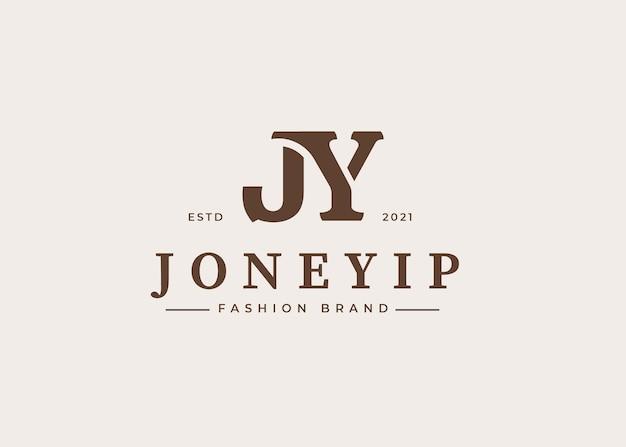 현대 초기 jy 편지 로고 디자인 서식 파일, 벡터 일러스트