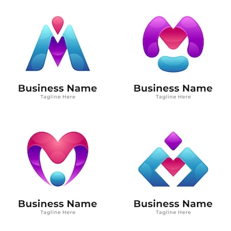 Modern initial letter m logo collection