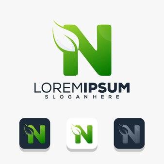 Modern initial letter n with leaf logo design