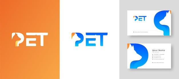 Современная буквица mark p с буквой p с собакой, кошкой и животным с премиальной визиткой