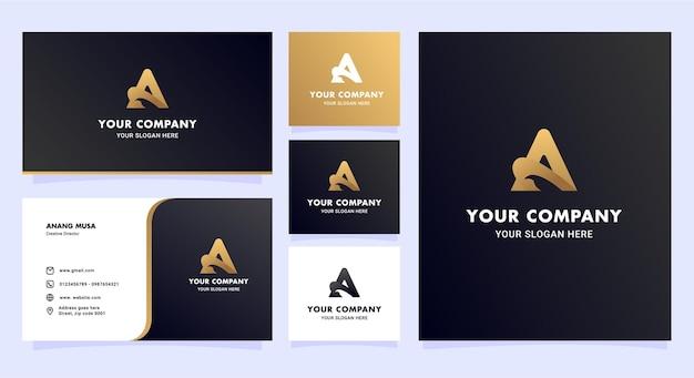 현대 이니셜 로고 및 명함 세트 디자인 서식 파일