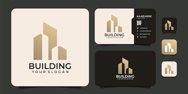 ブランディングのためのモダンなインスピレーションを与える建築建物のロゴシンボル