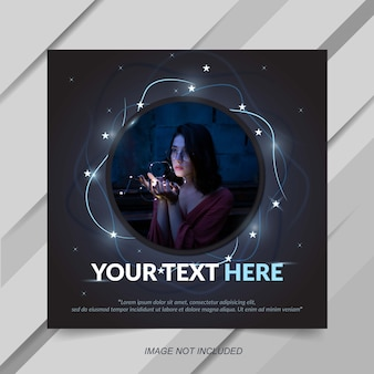 Modern instagram post template with star effect
