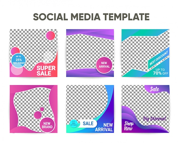 Modern instagram square post template with colorful design set