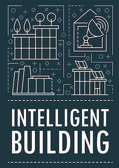 Modern intelligent building banner, outline style