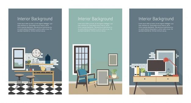 Современный интерьер баннеры. кухня, гостиная, рабочее место в стиле лофт. красочные плоские вертикальные шаблоны с местом для текста