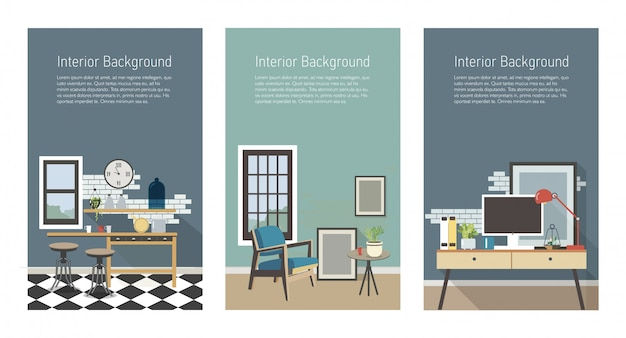 Modern interior banners set. kitchen, living room, workplace in loft style. colorful flat   vertical templates with place for text