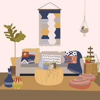 リビングルームのグラフィックイラストのモダンなインテリアデザイン。スタイリッシュな装飾が施されたカラフルな居心地の良いアパートメント。家の中の流行の家具の装飾