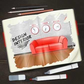 Sketchbook moderno di interior design con evidenziatori di matite e gomma