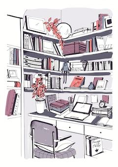 Современная внутренняя домашняя библиотека, книжные полки, рисованная красочная иллюстрация эскиза на рабочем месте.