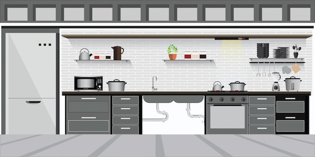 Modern interior kitchen with kitchen shelves.