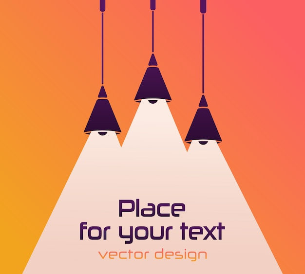 Modern interior. lamp bulb, place for your text