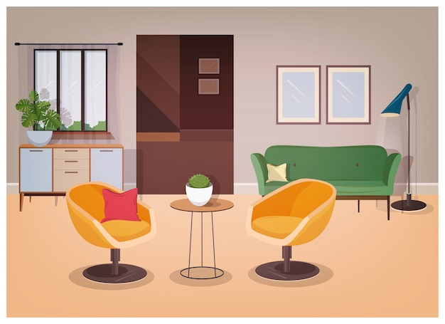 Modern interior of living room full of comfortable furniture and home decorations - comfy couch, armchairs, coffee table, house plants, floor lamp, wall pictures. illustration in flat style.