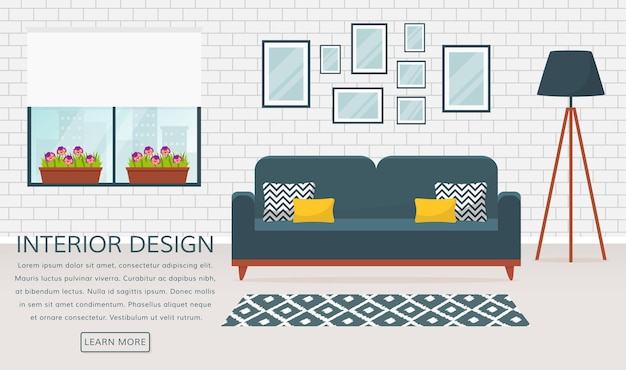 Modern interior of the living room. vector banner with place for text. design of a cozy room with sofa, floor lamp, window, carpet and decor accessories.
