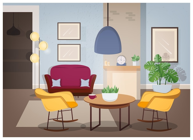 Modern interior of living room with comfortable furniture and trendy home decorations