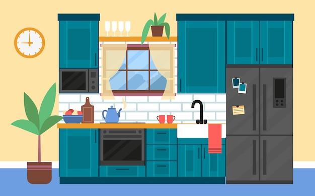 フラットスタイルの家具を備えた居心地の良いキッチンのモダンなインテリア