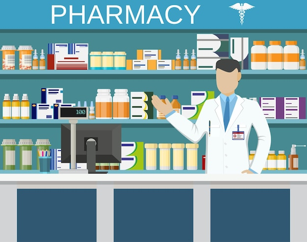 Modern interior pharmacy or drugstore with male pharmacist at the counter Premium Vector