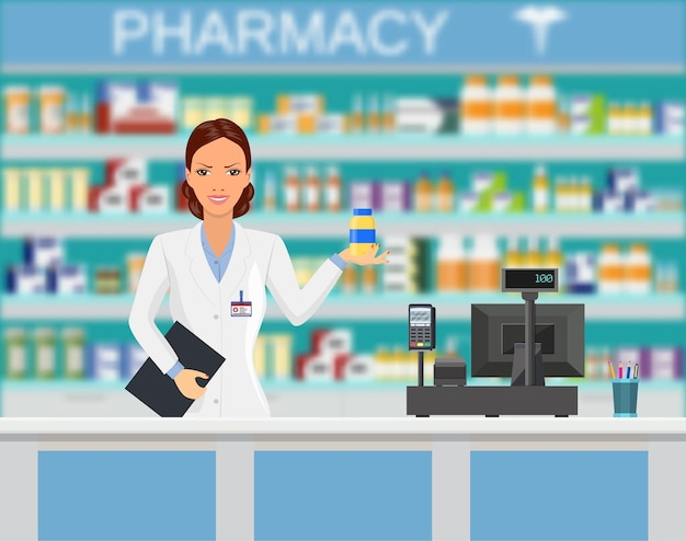 Modern interior pharmacy or drugstore