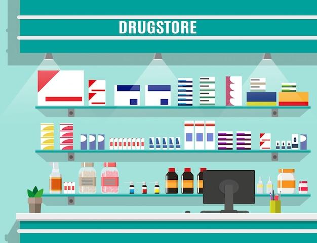 Современный интерьер аптеки или аптеки.