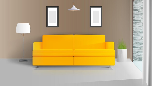 현대적인 인테리어. 베이지 색 벽이있는 방입니다. 노란색 소파, 흰색 갓이있는 플로어 램프, 잔디 냄비. 삽화