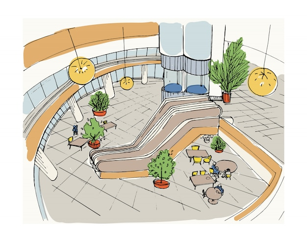 Modern interior shopping center, mall. top view. colorful sketch illustration.