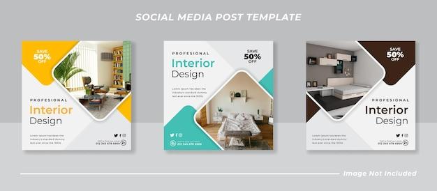 Современный интерьер в социальных сетях и шаблон поста в instagram