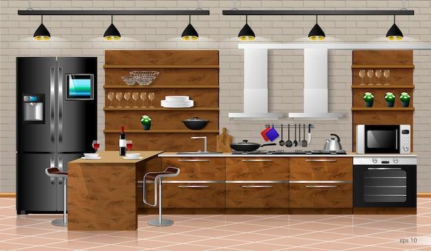 Modern interior of wooden kitchen vector illustration household kitchen appliances cabinets