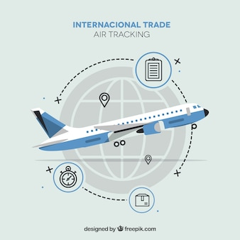 Modern international trade concept with flat design