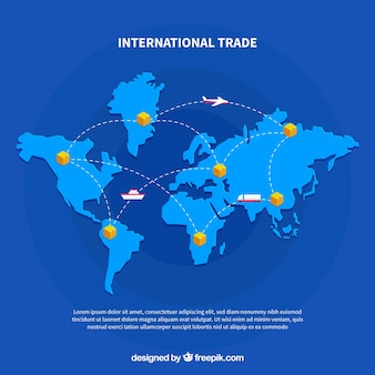 Blue world map vector free download modern international trade concept gumiabroncs Choice Image