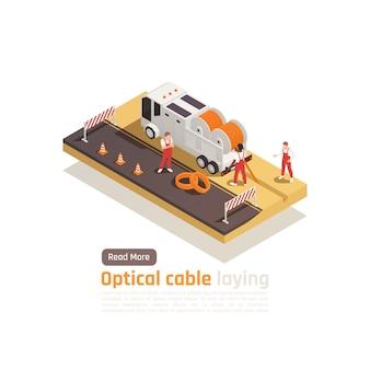クリック可能なボタンテキストとベンダークルーバナーを備えた最新のインターネット5g通信技術アイソメトリック構成