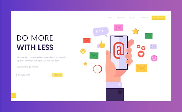 Modern internet technology concept landing page. email network marketing, social media and digital marketing, social network promotion concept website or web page. flat cartoon vector illustration.