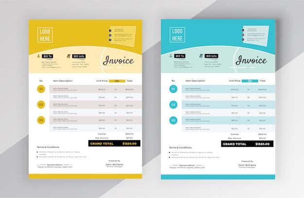 Modern invoice bill template