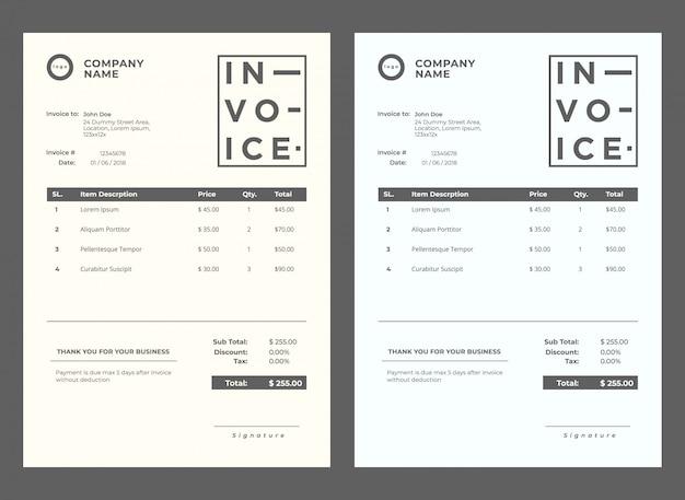 Modern invoice minimalist template