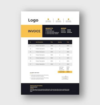 Modern invoice template and bill invoice design