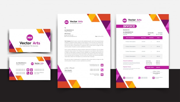 Modern invoice template vector with colorful design