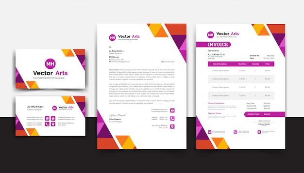 カラフルなデザインのモダンな請求書テンプレートベクトル