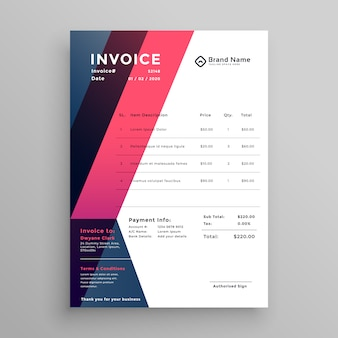Modern invoice template for your business