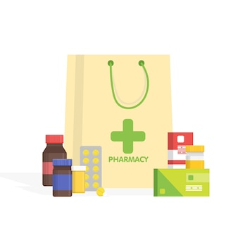 Modern isolated pharmacy and drugstore. vector simple illustration.