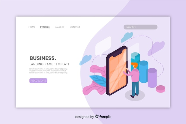 Modern isometric business landing page
