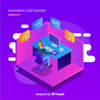 Modern isometric call center concept