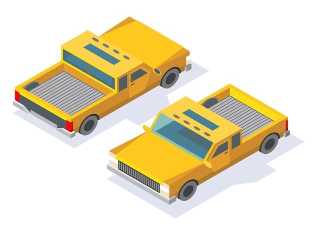 現代の等尺性の車のアイコンデザインイラストデザイン